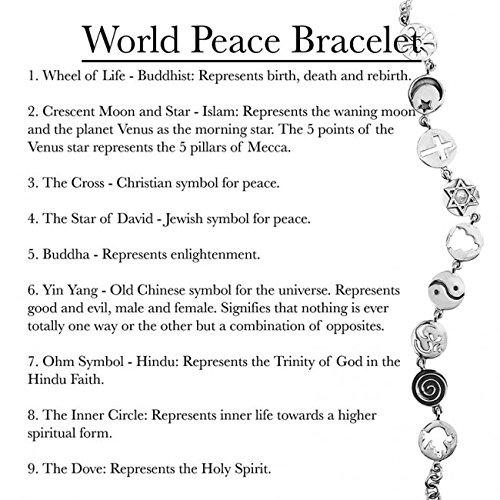 World Peace Charm Bracelet Coexist Sterling Silver 7 9 Karen