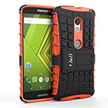Motorola X Play Case, J&D [Armor Protection] Moto X Play [Heavy Duty] [Triple Layer] Hybrid Shock Proof Fully Protective Case for Moto X Play (Kickstand Orange)