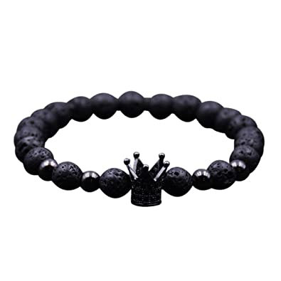 Stheanoo Bracelets Natural Stone Beads Vintage Bracelet Crown Shape  Wristband Jewelry Gifts for Women Men (Black d2d27dc6f9de