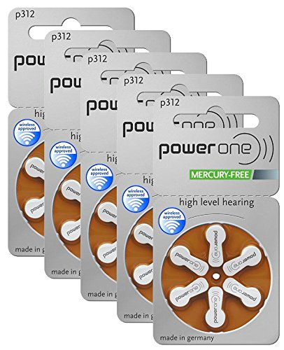 Power One Size 312 MERCURY FREE Hearing Aid Batteries, 5Pack (60 Batteries) by PowerOne