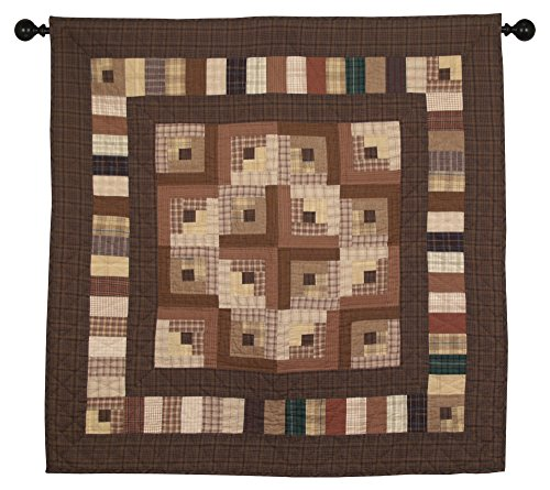 Country Log Cabin Wall Hanging Quilt 44 Inches by 44 Inches 100% Cotton Handmade Hand Quilted Heirloom Quality