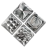 Mesmerizing Sleek Silver Contemporary Hand-Made Metallic Wall Accent With Abstract Multi-Design Etchings - Set Of Four Home Decor, Modern Metal Wall Art - 4 Squares by Jon Allen