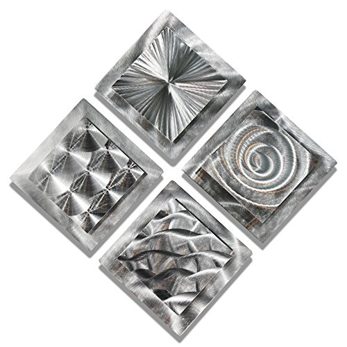 Statements2000 Mesmerizing Sleek Silver Contemporary Hand-Made Metallic Wall Accent with Abstract Multi-Design Etchings - Set of Four Home Decor, Modern Metal Wall Art - 4 Squares by Jon Allen