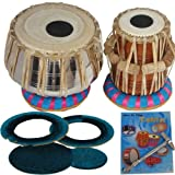 Queen Brass Tabla Drums_Set_Deluxe_Steel-Professional Grade-Case/Book/Hammer/Cushion