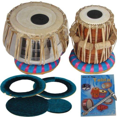 Queen Brass Tabla Drums_Set_Deluxe_Steel-Professional Grade-Case/Book/Hammer/Cushion by Queen Brass