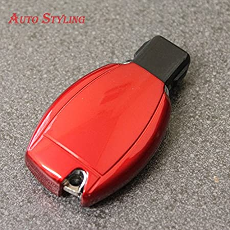 Gloss Fire Red Key Cover Case for Mercedes A B C CLA CLK CLS E S SLK SL CLASS Viano Vito AMG GT Smart Remote Fob Protector 2 3 4 Button Cdi Blueefficiency Bluetec F Eco Se Amg Line Premium Sport S Edition 125 Plus Classic Elegance Hybrid Speedshift MCT Sh