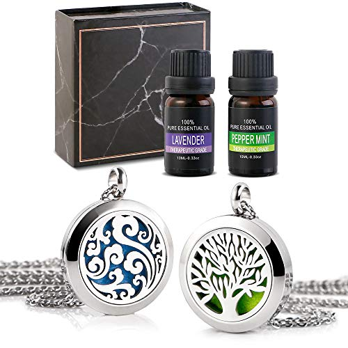 RoyAroma Essential Oil Necklace Gift Set, 2PCS Aromatherapy Essential Oil Diffuser Necklace Two Patterns Pendant Locket Jewelry, 23.6