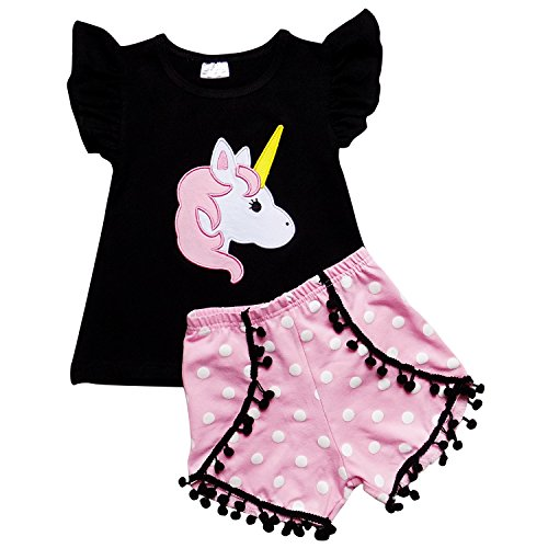 So Sydney Girls Toddler Pom Pom Novelty Summer Pool Beach Vacation Shorts Outfit (7 (XXL), Unicorn Pink Polka)]()