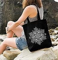 Yute bolsa Mandala Ornament Bohemian boho étnico Funda de algodón bolsa de tela bolsa Autiga, Mandala 2 Schwarz, 2 lange Henkel: Amazon.es: Hogar