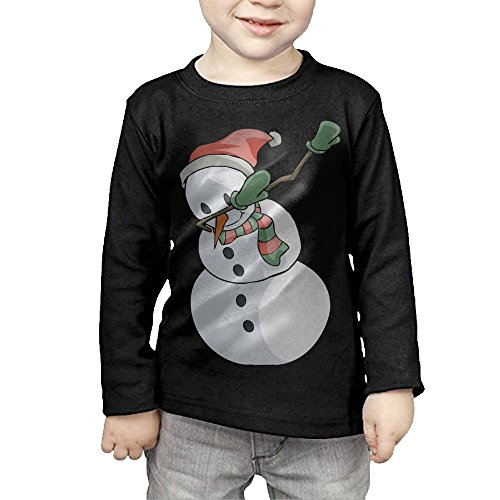 ZheuO Boys & Girls Infant Dabbing Snowman Funny Christmas Soft and Cozy 100% Cotton Tee Unisex Black 5-6 Toddler