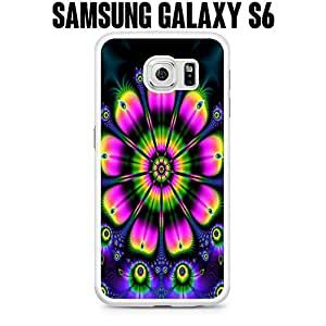 Phone Case Psychedelic Flower for Samsung Galaxy S6 EDGE SM-G925 Plastic White (Ships from CA)