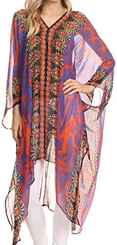 Sakkas P3 - Livi Scoop V Neck Wide Mid Length Caftan Dress / Cover Up - 1725- Blue / Orange - OS