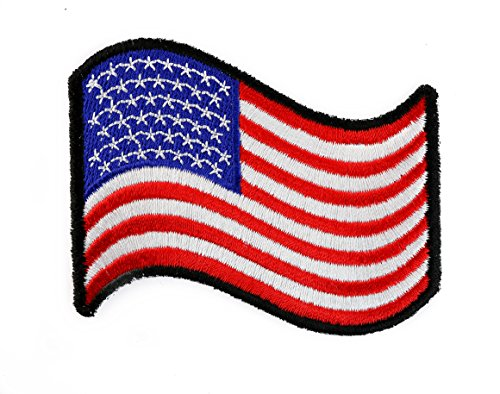 (Wavy American Flag Embroidered Patch IVANP1481)