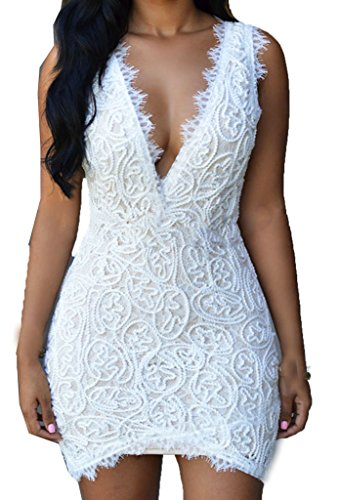 ZKESS Women's Sleeveless Lace Party Club Mini Dress L Size White