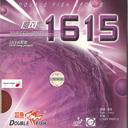 Double Fish Pips Long Table Tennisラバー1615 B078ZBFTPL ブラック