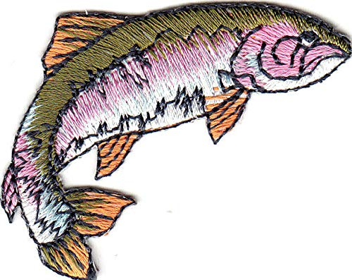 - RAINBOW TROUT (RIGHT) - FISHING - FRESHWATER FISH/Iron On Embroidered Patch