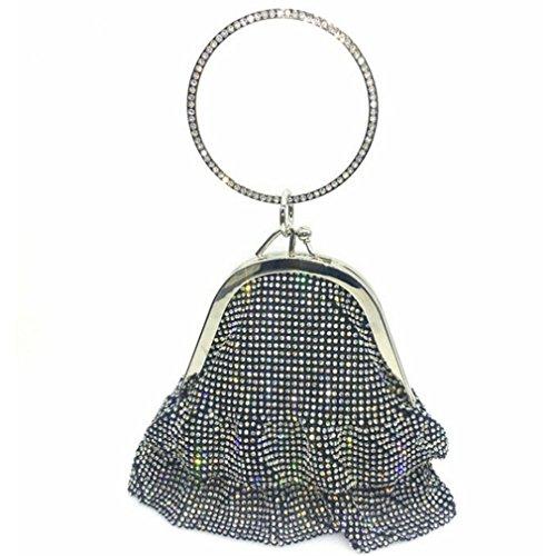 ZJ Women Bridal Clutch black Ladies Wedding Totes Crystal amp;OS Bag Feminina Mochila Evening rrPZwnq65
