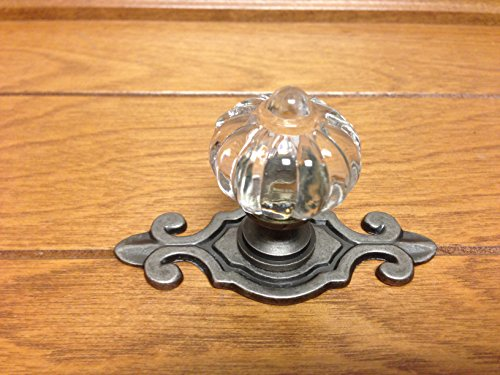 Pewter Backplate - Sonoma Cabinet Hardware Roman Knob Antique Pewter with fleur-de-lis Backplate Solid Brass