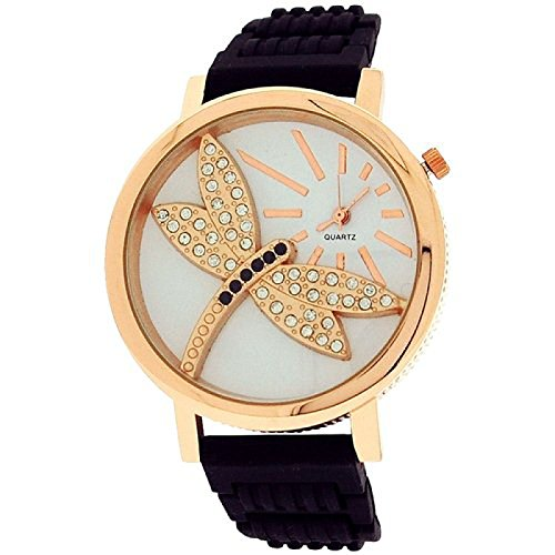 Relda Ladies Dragonfly Dial with Crystals Black Rubber Strap Watch REL35