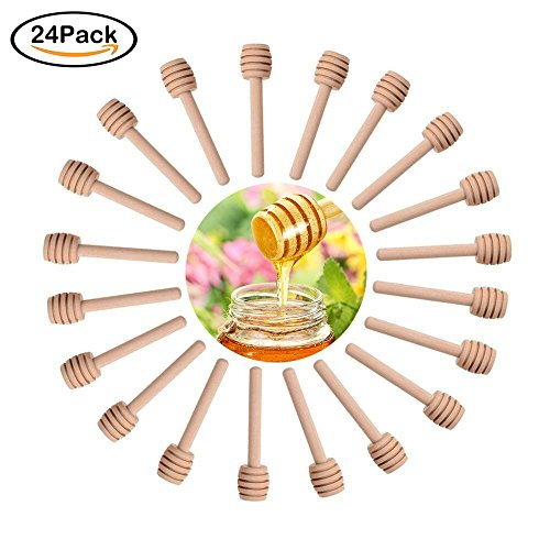"Sohapy 24 Pack 3.1"" Mini Wooden Honey Dipper Sticks Spoon fo"