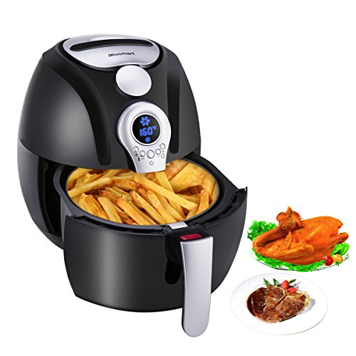 Electric Air Fryer, Blusmart Power Air Frying Technology with Temperature and Time Control LED Display 3.4Qt/3.2L 1400W Fry Basket & Recipe Book by Blusmart