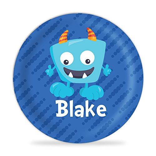 - Monster Plate - Blue Monster Melamine Personalized Name Plate