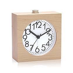 Smileto Mini Silence Classic Square Mid-Century Desk Wood Maple Alarm Clock with Nightlight Snooze Feature (Sandal wood)