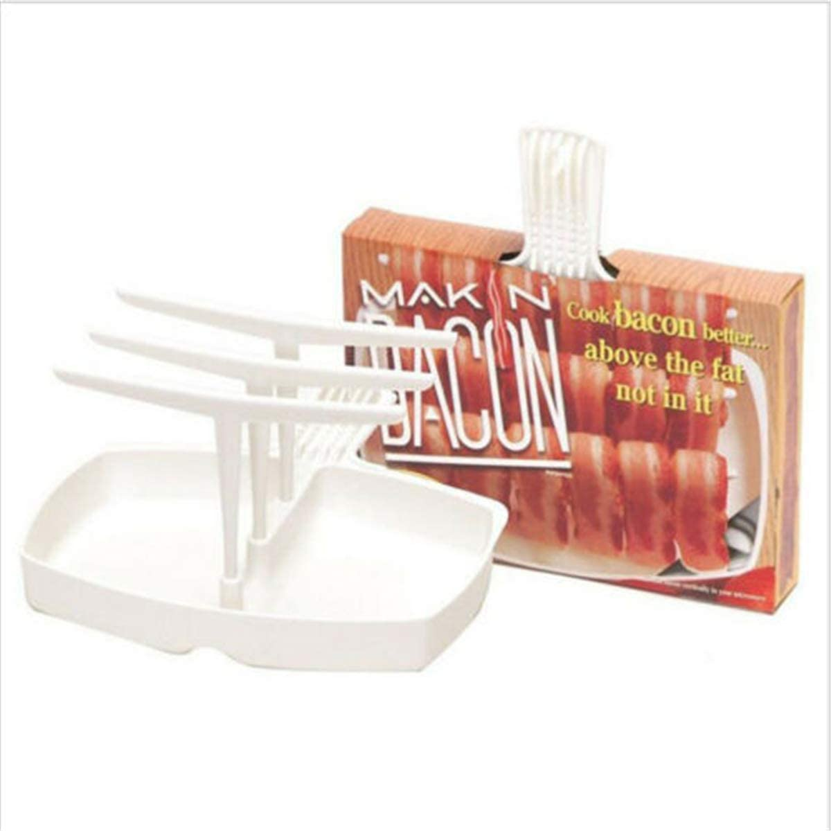 Microwave Bacon Cooker Bacon Rack with Tray Reducing 35% Fat Crispy Bacon Maker Healthy Breakfast Bacon Hanger for Household Kitchen