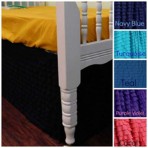 "Ruffled 4 sides Crib Skirt - cribskirt, Dust ruffle- Baby Girl Nursery Decor - 16"" Long Crib Skirt 1"" gathered look ruffle - Navy Blue, Orange, Teal, Purple, Coral, Lime Green"