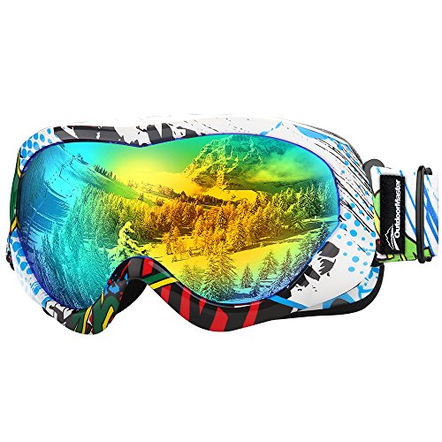 OutdoorMaster Kids Ski Goggles - Helmet Compatible Snow Goggles for Boys & Girls with 100% UV Protection (Color pattern Frame + VLT 13% Grey Lens with Full REVO Gold)
