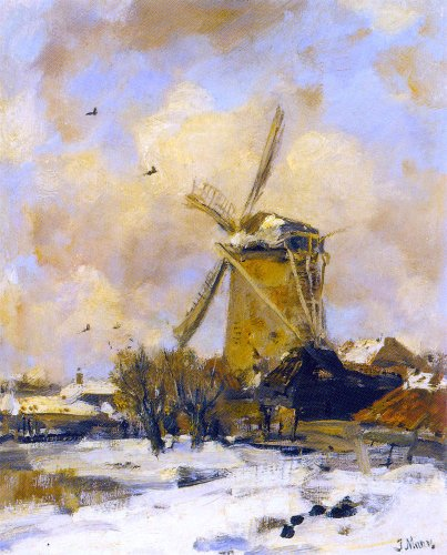 Jacob Windmill (Jacob Henricus Maris A Windmill in a Winter Landscape - 20.1
