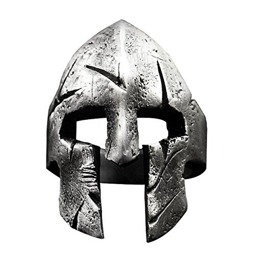 Woogge 2 Colors Men's Viking Ring Spartan Mask Helmet Nordic Pagan Triskele Helm Adjustable Rings For Men Women Size 9