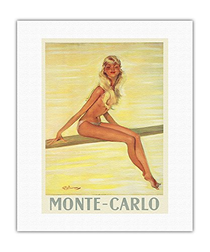 Pacifica Island Art Monte-Carlo, Monaco - French Riviera - Topless Girl - Vintage World Travel Poster by Jean-Gabriel Domergue c.1945 - Fine Art Rolled Canvas Print - 16in x 20in