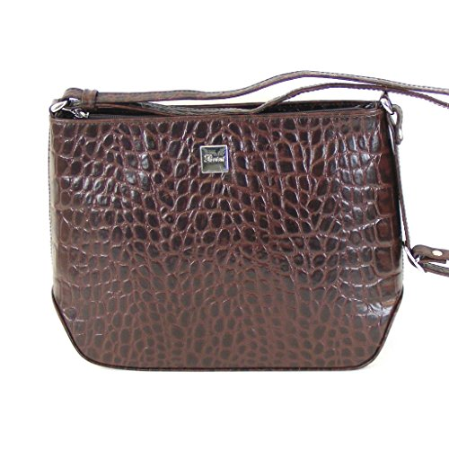Pavini Damen Tasche Crossovertasche Croco Leder braun 12486 Reißverschluss XM33pjHZRi