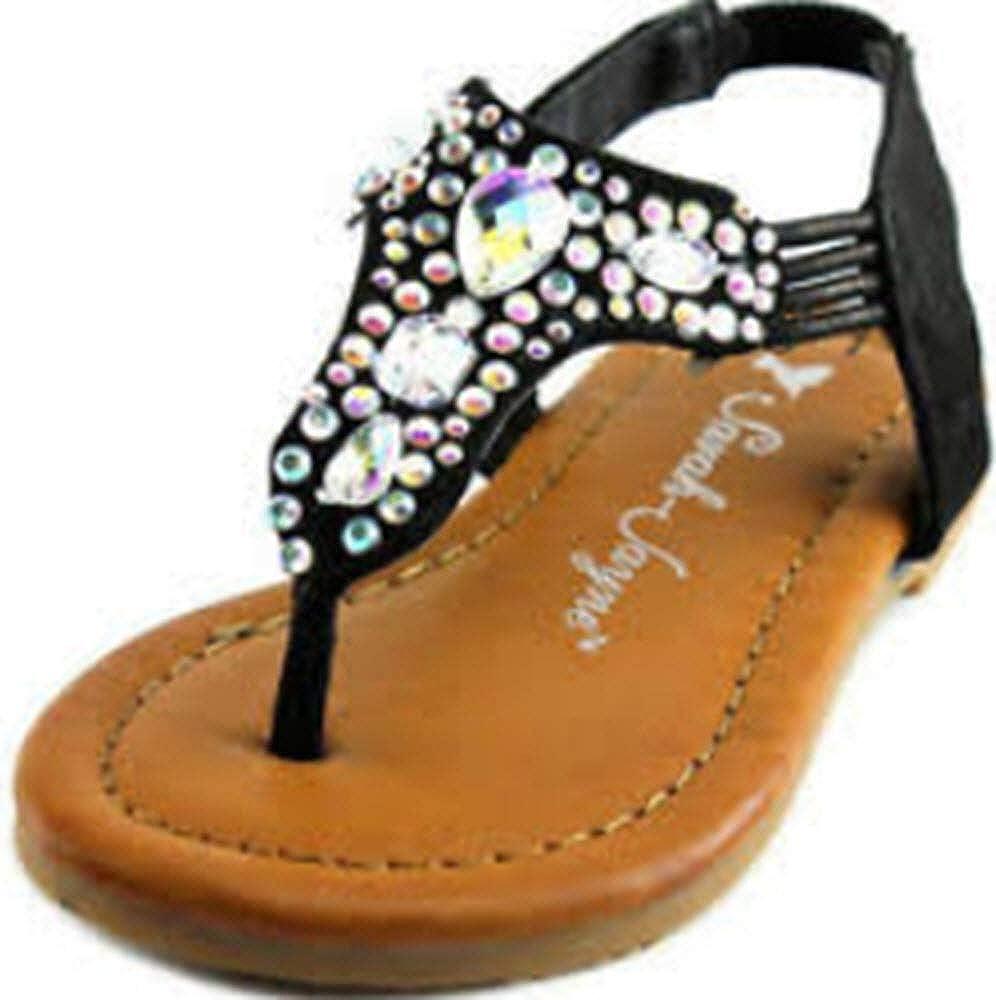 Little Girls Black Cleopatra Bling Sandal Size 6 99124416
