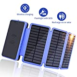 Solar Charger 20000mAh, Soluser Portable Wireless Solar Power Bank External Battery Pack with 3 Solar Panels, Emergency Flashlight for Smartphone