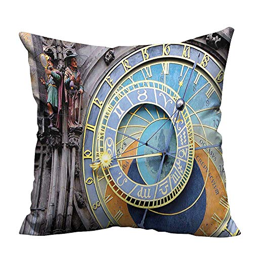 YouXianHome Decorative Throw Pillow Case Prague Astronomical Clock in The Old Town A Medieval Landmark of The City Ideal Decoration(Double-Sided Printing) 20x20 inch -