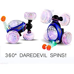Haktoys HAK101 Invincible Tornado Twister - Multifunctional Rechargeable RC Acrobatic Stunt Car with LED Lights and Music - BLUE