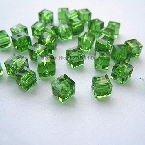 Calvas 100pcs Shining Blue Color Square 6mm Austria Crystal Beads Charm Glass Beads Loose Spacer Bead for DIY Jewelry Making - (Color: Green)
