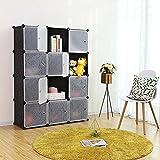 SONGMICS Storage Cube, Plastic Wardrobe Cabinet, DIY Modular Closet Organizer with Doors Black ULPC34H