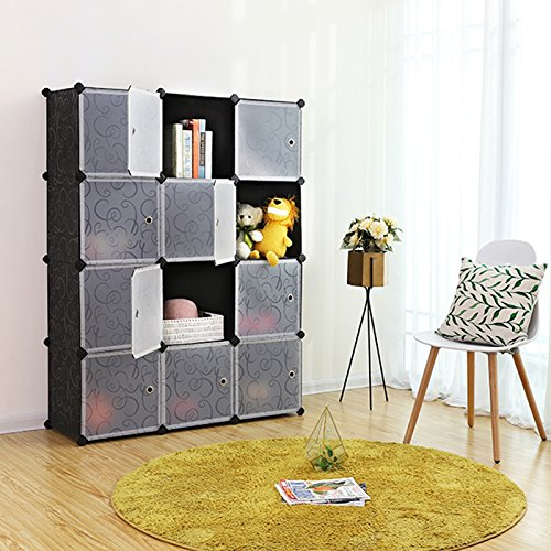 SONGMICS Storage Cube, Plastic Wardrobe Cabinet, DIY Modular Closet Organizer with Doors Black ULPC34H