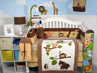 Soho Forest Playground Baby Crib Nursery Bedding Set 13 pcs included Diaper Bag with Changing Pad & Bottle Case