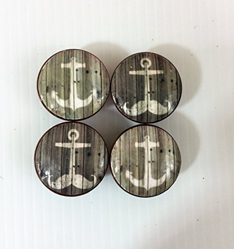 Set of 4 Gray Weathered Wood Anchor Print Cabinet Knobs