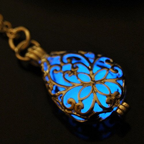 [Cosines Jewelry - Blue Glow In Dark Locket Silver Hollow Glowing Stone Luminous Pendant Necklace (1pc)] (Dragon Dance Costume For Sale)