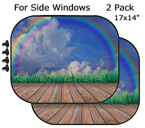 MSD Car Sun Shade - Side Window Sunshade Universal Fit 2 Pack - Block Sun Glare, UV and Heat for Baby and Pet - Wood Terrace and Rainbow on The Sky Image 15754605 Customized Tablemats Stain