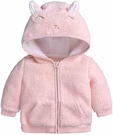 9d8f531a9 Infant Baby Girls Winter Warm Thick Zipper Coat Cloak Berber Fleece Hooded