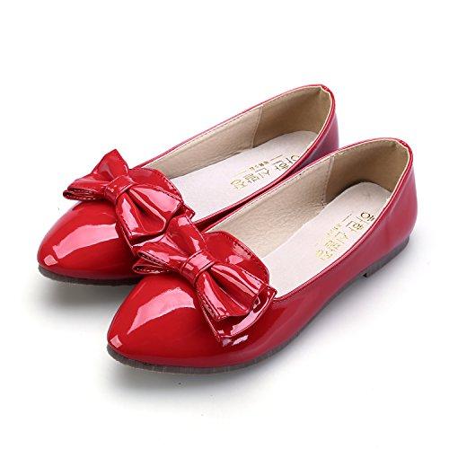 Smilun Damen Ballerina Flach Ballett Schleife Glänzende Lackleder Rot