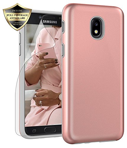 Samsung Galaxy J3 2018 Case, J3V 3rd Gen, J3 Star, Express Prime 3,J3 Achieve, Amp Prime 3 Case, Androgate Hybrid Matte Protective Cover Case with Full Coverage TPU Screen Protector,Rose Gold