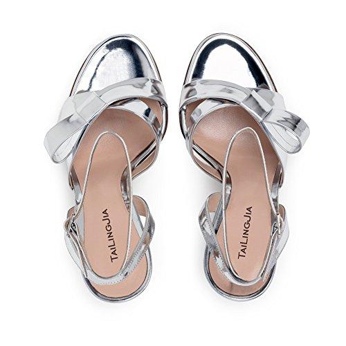 Femmes Sandales Toe Fête Chaussures Forme xie 35 Cheville Sandales Taille Silver Prom Noces Argenté Peep Soirée Épaisses Talon 45 Été Bloc Plate dwwOFY7