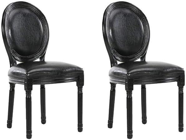 INSIDE Lot de 2 chaises m/édaillon Versailles Style Louis XVI Simili PUpu Noir